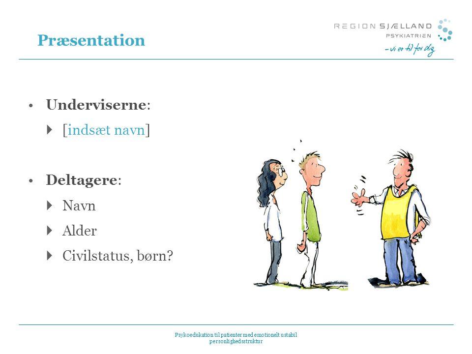 Præsentation Underviserne: [indsæt navn] Deltagere: Navn Alder